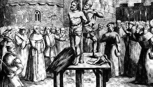 William Tyndale est pendu et brûlé le 6 octobre 1536. Avant de subir le supplice, il crie d'une voix puissante : « Seigneur, daigne ouvrir les yeux du roi d'Angleterre ! » William Tyndale au bûcher, s'écriant « Lord, open the King of England's eyes »