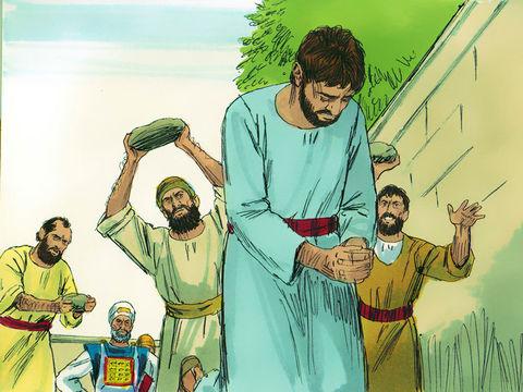 Mais Etienne, rempli d'esprit saint, regarde vers le ciel et contemple la gloire de Dieu et Jésus debout à sa droite. Ceux qui siègent au sanhédrin se précipitent tous ensemble sur lui et le traînent à l'extérieur de la ville pour le lapider.