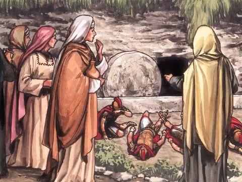 Jésus est ressuscité. Les femmes viennent le voir et trouve le tombeau vide.