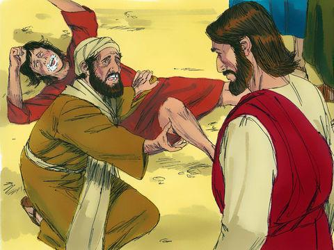 Un homme amène à Jésus son fils, un jeune garçon possédé depuis son enfance par un esprit muet. Quand l'esprit s'empare de lui, l'enfant écume grince des dents et devient tout raide. L'esprit le jette par terre, dans le feu ou l'eau pour le faire mourir.