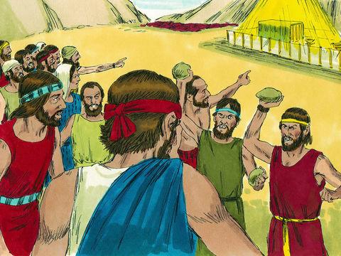 """Mais cela n'a aucun effet, les Israélites parlent même de lapider Josué et Caleb! C'est alors qu'apparaît la gloire de Jéhovah. Dieu déclare : « Jusqu'à quand ce peuple me méprisera-t-il? Jusqu'à quand ne croira-t-il pas en moi, malgré tous les signes ?"""""""