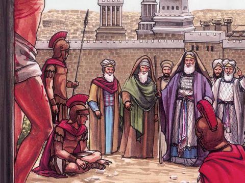 Jésus a été mis à mort par les Romains à la demande des chefs religieux juifs et du peuple qui a réclamé sa crucifixion.