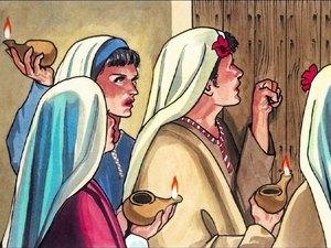 Seule la moitié de ces jeunes filles sont suffisamment prêtes pour accueillir l'époux. L'autre moitié des jeunes filles se retrouvent sans rien, elles ne se sont pas inquiétées de la venue de l'époux (Jésus) et ne se sont pas préparées en conséquence.