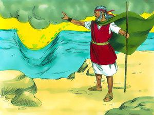 Moïse tend son bâton et un vent d'est souffle pour séparer la mer rouge en deux