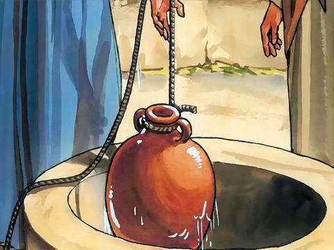 Jésus s'adresse  à une femme Samaritaine en train de puiser de l'eau. Il lui parle de l'eau qui donne la vie éternelle.
