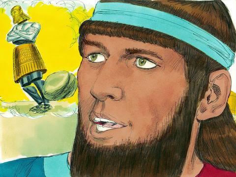 Daniel raconte le rêve de Nébucadnetsar: le roi a vu une immense statue. La tête de cette statue était en or pur, sa poitrine et ses bras en argent, son ventre et ses cuisses en bronze, ses jambes en fer, ses pieds en fer et argile. Une grosse pierre .