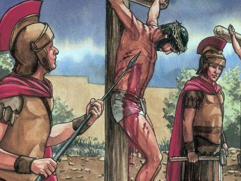 un des soldats lui transperce le côté avec une lance, il en sort du sang et de l'eau. S'accomplit la prophétie: Zacharie 12 :10 : « (…) Alors ils tourneront leurs regards vers moi, celui qu'ils auront transpercé. »