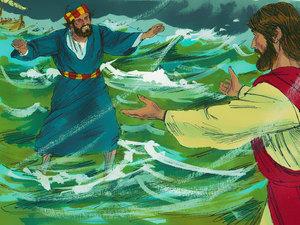 Pierre veut rejoindre Jésus en marchant sur l'eau mais il commencer à douter