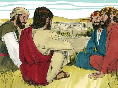 Ce sont les 4 premiers disciples, Simon Pierre et son frère André, Jean et sont frère Jacques, les fils de Zébédée et Salomé, qui interrogent Jésus sur le mont des oliviers pour connaître les signes de son retour et de la fin du monde.