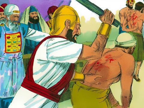 Les Juifs font alors fouetter les apôtres et leur interdisent de parler au nom de Jésus.