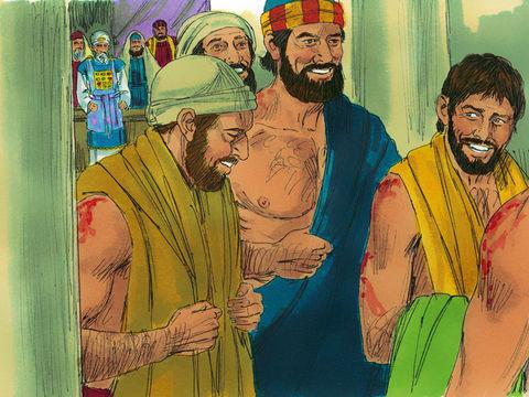 Les Juifs font alors fouetter les apôtres et leur interdisent de parler au nom de Jésus. Les apôtres quittent le sanhédrin, joyeux d'avoir été jugés dignes d'être maltraités pour le nom de Jésus. Ils ne cessent alors d'enseigner sans relâche.
