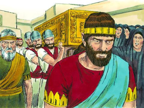 Josias, roi de Juda est mort. Grande tristesse générale. Josias est enterré à Jérusalem.