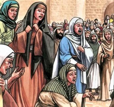 Marie de Magdala, Jeanne, Marie la mère de Jacques, Salomé et les autres femmes qui étaient avec elles, sont restées avec Jésus au moment de sa mort, les apôtres avaient fui.