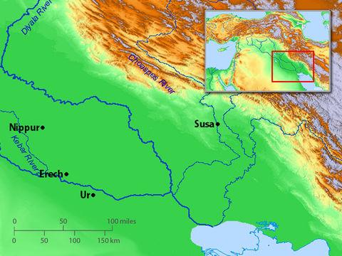 Le prophète Ézéchiel a reçu les visions prophétiques consignées dans son livre au bord du fleuve Kebar. Il s'agirait peut-être de l'un des nombreux canaux de Babylonie.