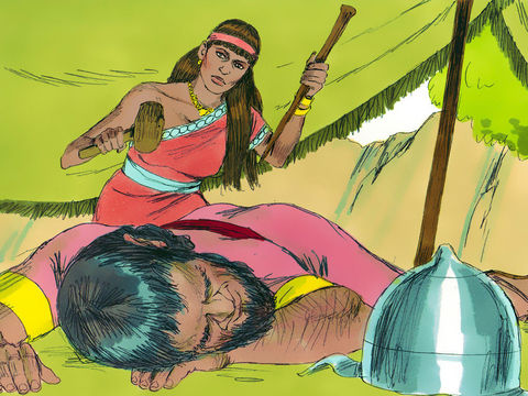 Jaël, femme courageuse, tue Siséra endormi en lui enfonçant un pieu dans la tempe.