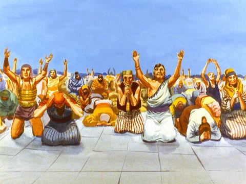Le peuple se prosterne devant la statue et montre sa fidélité indéfectible au roi Nébucadnetsar. C'est de l'idolâtrie pure hautement condamnée par Dieu. Les 3 Hébreux Shadrak, Méshak et Abed-Nego ont courageusement refusé de se prosterner devant l'idole.