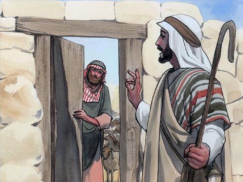 Jésus est le bon berger. Il est la porte de l'enclos des brebis. Il tient la clé de David qui symbolise l'approbation de Dieu et de Jésus pour obtenir la vie éternelle.