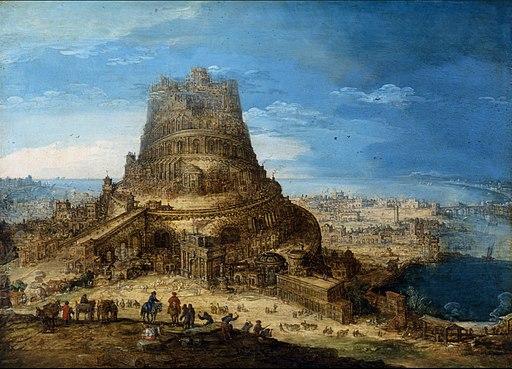 La tour de Babel et la confusion des langages par Dieu - Cette tour immense, produite par l'orgueil de l'homme, se voulait être aussi élevée que Dieu. On peut dire qu'elle serait devenue le symbole du pouvoir politique et religieux opposé à Dieu.
