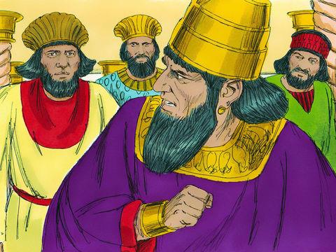 La reine refuse de venir ce qui met le roi dans une grande colère. Assuérus demande aux 7 princes qui constituent son proche entourage comment traiter la reine Vashti suite à ce refus d'obéir.