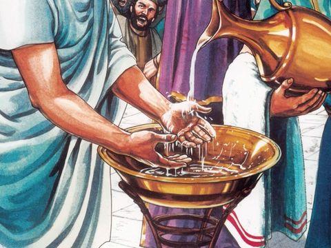 Pilate cède devant l'insistance des Juifs qui insistent à grands cris afin que Jésus soit sacrifié. Pour montrer que c'est leur décision, il se lave les mains, symbole puissant qui rejette toute la culpabilité sur les Juifs.