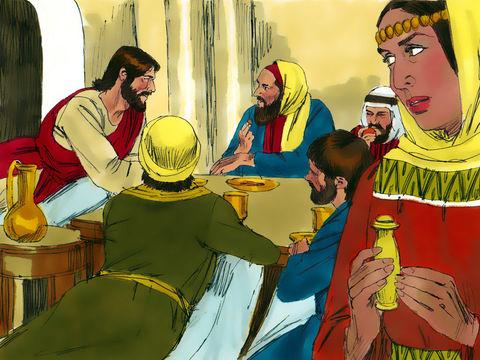 Alors que Jésus est invité chez un pharisien nommé Simon, une prostituée vient vers lui avec un vase d'albâtre pleine de parfum.