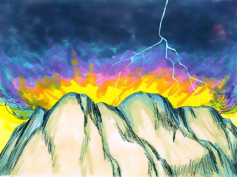 Le mont de Sinaï était tout fumant, parce que Jéhovah y était descendu au milieu du feu, et la fumée s'élevait comme la fumée d'une fournaise, et toute la montagne tremblait fortement. la gloire de Jéhovah reposa sur le mont Sinaï, et la nuée le couvrit.