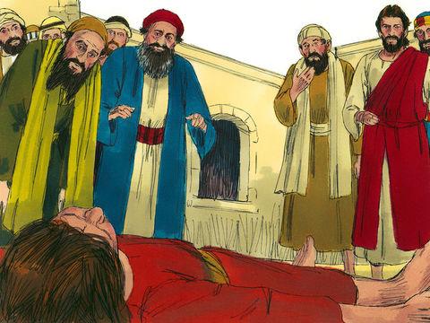 Jésus menace l'esprit impur en lui disant : «Esprit muet et sourd, je te l'ordonne, sors de cet enfant et n'y rentre plus.» L'esprit sort alors de l'enfant en poussant des cris et en le secouant très violemment au point que l'enfant reste comme mort.