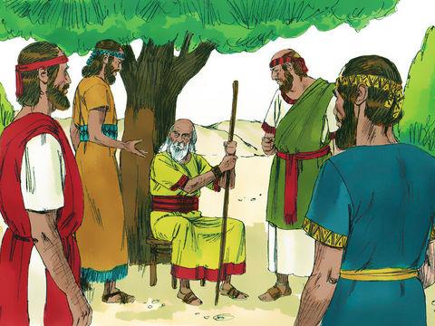 En voyant arriver l'arche de l'alliance dans le camp, le peuple pousse de grands cris de joie qui sont entendus par les Philistins. Ceux-ci prennent peur car Dieu est désormais dans le camp des Hébreux.