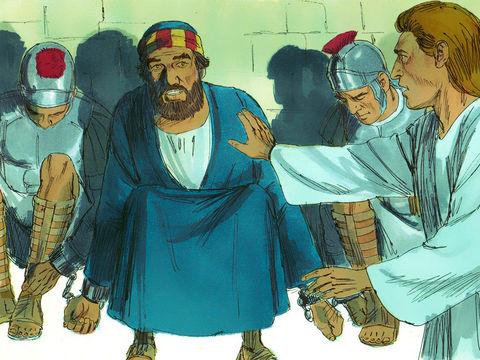 Pierre, jeté en prison par Hérode Agrippa qui persécute les chrétiens, est libéré par un ange qui lui dit : «Lève-toi vite!» Les chaînes tombèrent de ses mains.