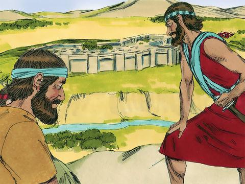 Les 12 espions, un de chaque tribu, envoyés par Moïse explorent la terre promise de Canaan pendant 40 jours. Ils font un rapport négatif de la terre promise, sauf Josué et Caleb.