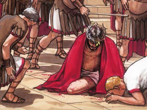 Les Romains et les Juifs se sont moqués de Jésus, l'ont insulté, lui ont enfoncé sur la tête une couronne d'épines douloureuse et humiliante.