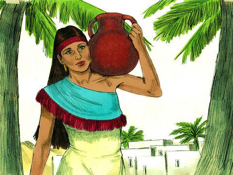 A la source d'eau, Rebecca vient puiser de l'eau. Le serviteur d'Abraham lui demande à boire.