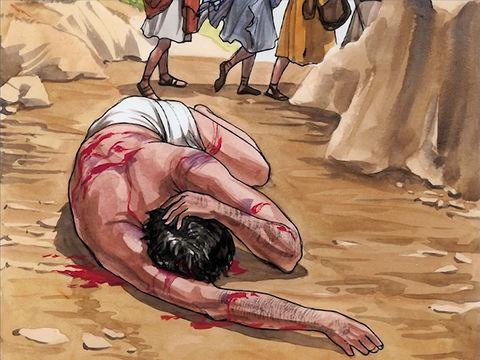 Un homme descend de Jérusalem à Jéricho et se fait attaquer par des brigands.. Il reste inconscient.