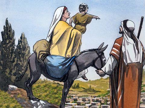 Joseph, Marie et Jésus reviennent d'Egypte vers Israël car Hérode est mort.