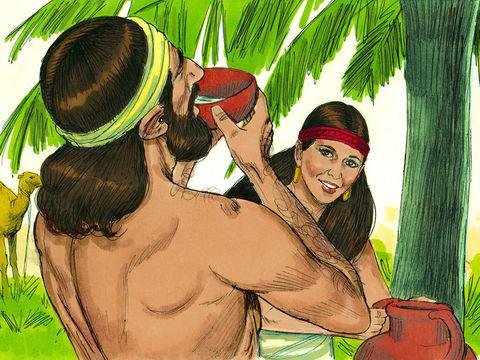 Rebecca donne à boire au serviteur d'Abraham et donne aussi à boire aux chameaux