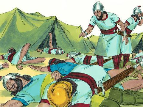 Le roi d'Assyrie Sanchérib a menacé le royaume de Juda de destruction et méprisé Jéhovah Dieu, un ange frappe 185'000 hommes dans le camp des Assyriens. Le lendemain, le camp était rempli de cadavres. Le roi Sanshérib rentre alors à Ninive.