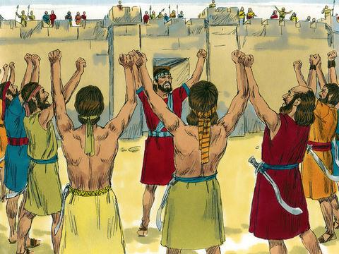 Au 7ème tour, en plus du son retentissant des 7 trompettes, tout le peuple pousse de grands cris et les murailles s'écroulent complètement (sauf la partie correspondant à la maison le Rahab, la prostituée).