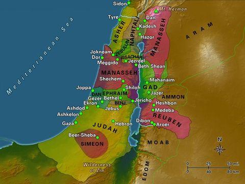 Les 12 tribus d'Israël, le Jourdain, le mer Méditerranée.