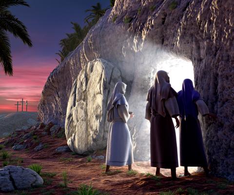 Jésus est ressuscité par Dieu Marie de Magdala découvre le tombeau vide et 2 anges