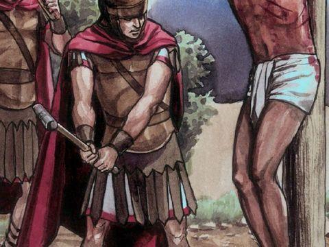 Les Juifs demandent aux Romains que l'on brise les jambes des crucifiés pour hâter leur mort et que les corps ne restent pas en croix pendant le sabbat.