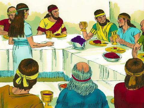 Assuérus organise un banquet pour tous les princes et serviteurs, les responsables militaires des Perses et des Mèdes, les nobles et les chefs de provinces. Devant eux il étale la glorieuse richesse de son royaume et l'éclatante splendeur de sa grandeur.