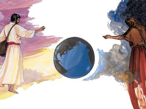 La moisson de la terre au temps de la fin. Jésus-Christ est le Semeur, Satan l'ennemi qui a planté de la mauvaise herbe.