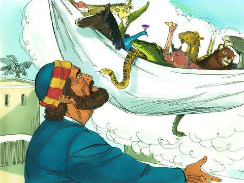 Pierre reçoit une vision dans laquelle on lui demande à 3 reprises de manger des animaux impurs. Désormais, les païens ou non-Juifs ou gentils pourront aussi devenir chrétiens et devenir cohéritiers du Christ.