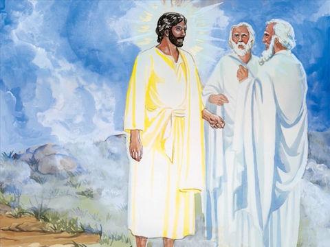 Lors de la transfiguration de Jésus sur une haute montagne, Dieu se manifeste dans une nuée et déclare : 'Celui-ci est mon Fils bien-aimé: écoutez-le!' Dieu reconnaît Jésus comme son Fils et nous demande de l'écouter.