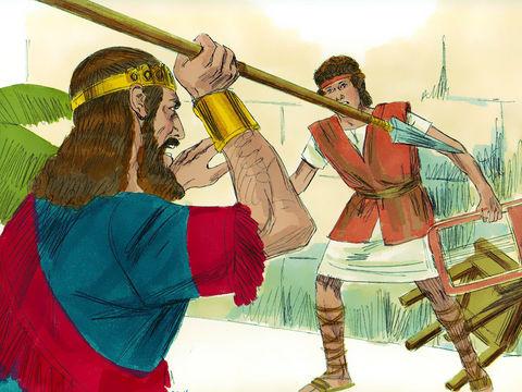 Saül essaie de tuer David par jalousie