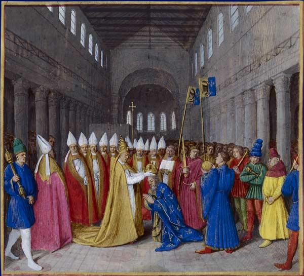 L' Empire romain d'occident reconstitué dont le chef couronné par le pape au nom de Dieu ne devrait son pouvoir qu'à l'Eglise et s'engagerait à l'aider. Le 25 décembre 800, à Saint-Pierre de Rome, Charlemagne est couronne empereur d'occident.