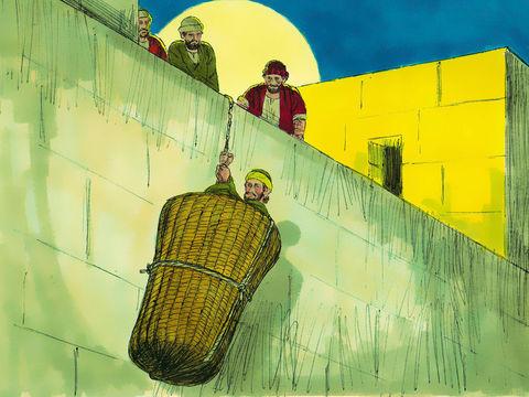 Peu après sa conversion, à Damas, alors que Saul prêche avec enthousiasme des Juifs essaient de le tuer. Des disciples l'aident à s'enfuir en le descendant le long de la muraille dans une corbeille