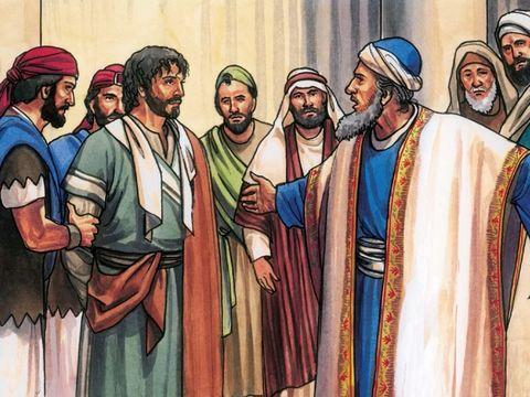 Jésus est emmené vers le grand-prêtre Caïphe où les spécialistes de la loi et les anciens sont rassemblés. Seul l'apôtre Pierre le suit de loin jusqu'à la cour du grand-prêtre.