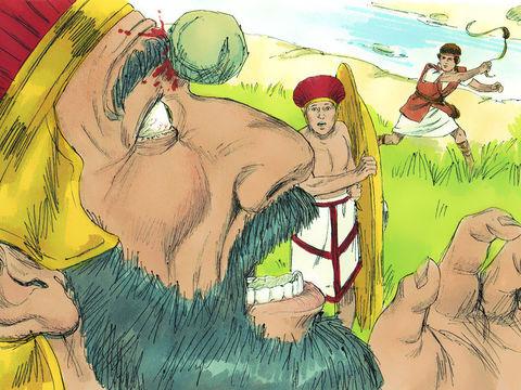Le Philistin s'avançait matin et soir, et il se présenta ainsi pendant 40 jours. » Finalement il est vaincu par David qui ne portait aucune armure et qui est parti se battre avec une fronde et 5 pierres.