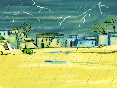Lors de la 7ème plaie d'Egypte, Yahvé fait une démonstration de sa toute-puissance devant le pharaon en faisant éclater des tonnerres et pleuvoir de la grêle sur toute l'Egypte.